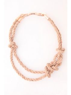 Bec Brittain Knotted Beige Leather Rope Necklace  $496