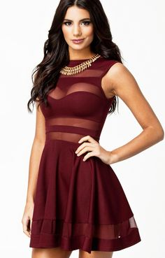 Sexy Dark Red See-through Sleeveless Pleating Club Dress