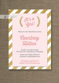 Pink & Gold Baby Shower Invitation Gold by digibuddhaPaperie, $20.00