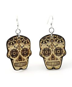 Loving this Natural & Black Sugar Skull Drop Earrings on #zulily! #zulilyfinds