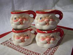 Vintage 1960 Holt Howard Miniature Winking Eye Santa Cups Mugs - Japan - Four in Lot