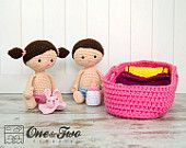 Little Me Playset - PDF Crochet Pattern - Instant Download - Amigurumi Baby Blanket Cradle