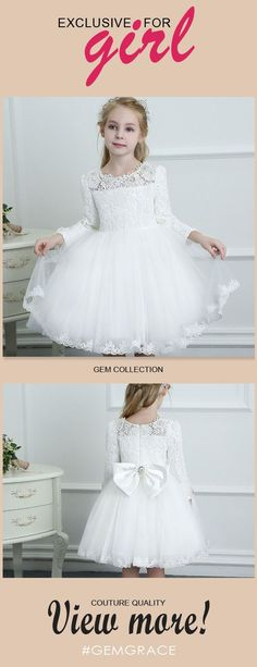 Only $64.99, Flower Girl Dresses Couture White Lace Long Sleeve Flower Girl Dress Wedding Dress Ballgown High Quality #TG7036 at #GemGrace. View more special Flower Girl Dresses now? GemGrace is a solution for those who want to buy delicate gowns with affordable prices, a solution for those who have unique ideas about their gowns. 2018 new arrivals, shop now to get $5 off!