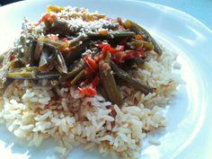 #arroz integral - #habichuelas #pimentón #lecheDeAlmendras #soya #cebolla #tomate #chiliSeco #ajonjolí