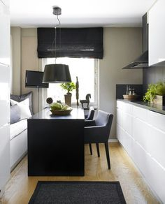 Small kitchen design - design and decoration de casas Tiny Spaces, Small Apartments, Work Spaces, Small Space Living, Living Spaces, Kitchen Interior, Kitchen Decor, Kitchen Ideas, Kitchen Designs