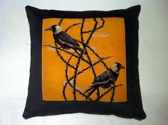 Crow Patrol Beau Cushion | 50x50cm | These cushions are expertly handmade locally using luxury furnishing fabric printed at the prestigious Glasgow School Of Art - Pure silks and 100% cotton velvets backed with irish linen or cotton velvet, zipped with inner feather pads. Shop the range at ww.inspirehomeproducts.co.uk #Perfect #Cushions #LuxuryCushions #Home #HomeInteriors #HomeDesign #Ideas #Inspiration #Decor #Decoration #Orange #Yellow #Bird #Floral