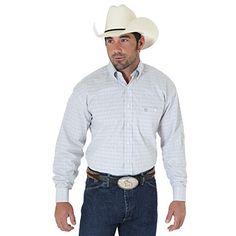 George Strait  Long Sleeve Poplin Plaid Shirt - Khaki/Brown/Blue (Big & Tall Sizes)