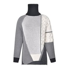 Prabal Gurung Asymmetric Intarsia-Knit Sweater (49.365 RUB) ❤ liked on Polyvore featuring tops, sweaters, asymmetrical sweaters, white knit sweater, asymmetric tops, white drape top and patchwork sweaters