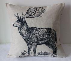 1PCS 45x45cm Vintage Deer Animal Cotton by CushionCoverMiniHat, $14.99