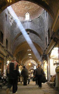 the souk / souq or bazaar in Aleppo, Syria in better days (Easter 2004 by seier+seier, via Flickr)