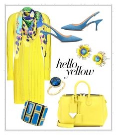 """Get Happy:  Pops of Yellow"" by shamrockclover ❤ liked on Polyvore featuring 3.1 Phillip Lim, Calvin Klein 205W39NYC, Betsey Johnson, Marco Bicego, Prada, Versace, PopsOfYellow and NYFWYellow"