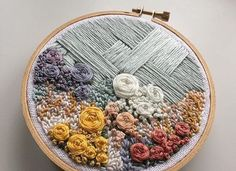 flower embroidery piece by @ginniejune
