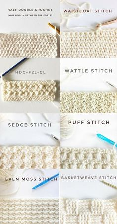 40 free crochet stitches from daisy farm crafts salvabrani loveamigurumi amigurumi crochet knitting embroidery bordado handmade yarn häkeln Learn how to crochet the Herringbone Half Double Crochet Stitch! A beautiful and simple stitch for baby blankets! Crochet Diy, Beau Crochet, Crochet Simple, Stitch Crochet, Crochet Crafts, Crochet Ideas, Crochet Tutorials, Crochet Beanie, Crochet Stitch Tutorial