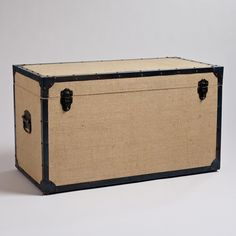 Toy chest option, after adding slow-close hinge - Burlap Steamer Trunk   World Market