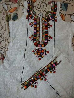 Beautiful and trendy Hand Embroidery Neck Designs Hand Embroidery Patterns Flowers, Embroidery On Kurtis, Kurti Embroidery Design, Hand Embroidery Flowers, Hand Work Embroidery, Indian Embroidery, Latest Embroidery Designs, Balochi Dress, Handmade Dresses