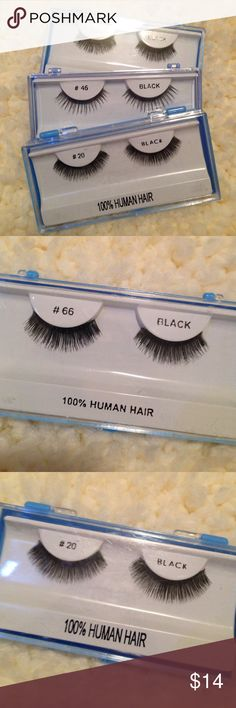 False eyelashes. NWOT. 💯 human hair. Comes in plastic case. If you wear lashes daily, and take care of them then one pair should last up to 3 weeks! Sold together. Price is firm. Makeup False Eyelashes