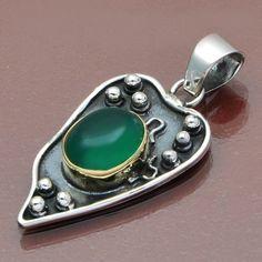 HOT JEWELLERY 925 STERLING SILVER GREEN ONYX PENDANT 5.41g DJP6414 #Handmade #Pendant