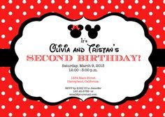 Minnie Mouse and Mickey Mouse Girl Boy TWINS Invitation / Birthday Party / Baby Shower, etc. by jenniferalisondesign on Etsy https://www.etsy.com/listing/237988287/minnie-mouse-and-mickey-mouse-girl-boy