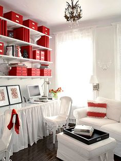 Smart Home Office Living room? Large home office? Yes, and you can steal these great ideas to make your own rooms pull double duty: -- Mount open shelving the length of the room all the way to ceiling. Mini Loft, White Office, Red Office, Small Office, Family Office, Orange Office, Space Crafts, Craft Space, Craft Rooms