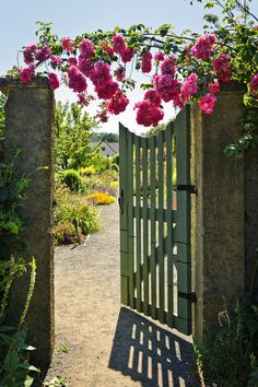 Buy Open garden gate with roses by DISABLED_elenathewise on PhotoDune. Pink roses hanging over open garden gate entrance Garden Gates And Fencing, Garden Doors, Fence Gate, Garden Entrance, Garden Oasis, Summer Garden, Garden Path, Most Beautiful Gardens, Unique Gardens