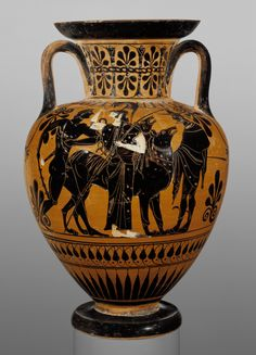 Attic Black-Figure Neck Amphora; Attributed to Leagros Group (Greek (Attic), active 525 - 500 B.C.); Athens, Greece; about 510 B.C.; Terracotta; 30.2 cm (11 7/8 in.); 86.AE.80; J. Paul Getty Museum, Los Angeles, California