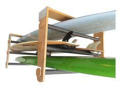 The Roll Rack by COR Board Racks. Roll your boards on and off. Works with Snowboards, Surf, SUP and Kayaks #paddleboarding