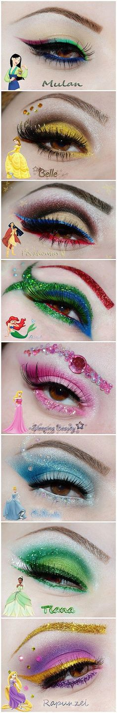 Living for these Disney Princess eye looks