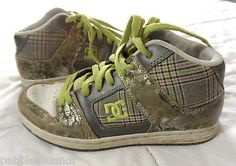 DC SHOES womens 7 Gray Pink White Plaid Skateboard Low hi-tops Leather BTS