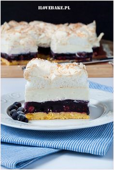 Jagodowa kostka - I Love Bake Food Cakes, Cake Cookies, Vanilla Cake, Blueberry, Cake Recipes, Cheesecake, Cooking Recipes, Gluten Free, Sweets