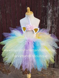 Unicorn tutu skirt and headband - Unicorn triple layered skirt - unicorn birthday party