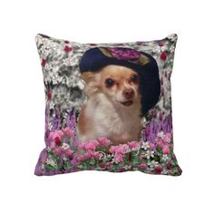 Chi Chi in Flowers  - Chihuahua Puppy in Cute Hat Throw Pillow #PODpinparty #dianeclancy