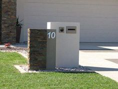 This is certainly a terrific choice if you want Diy Mailbox, Modern Mailbox, Mailbox Ideas, Fence Ideas, Stone Mailbox, Brick Design, Facade House, House Facades, House Numbers