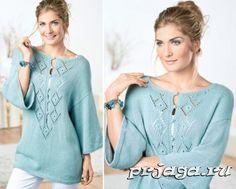 Пуловер – туника спицами