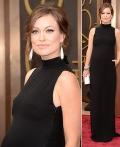 pregnant Olivia Wilde 2014 #Oscars hair makeup jewelry