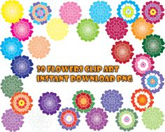 Instant download Flower Clip Art, Floral Clip Art, flower digital art, flower digital images,rose clipart, pastel hand drawn flowers - pinned by pin4etsy.com