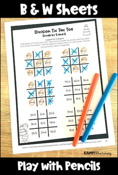 Looking for fun math games to develop fact fluency? These Tic Tac Toe math games can be played with pencils, stampers or with counters. There are also colored board games to use with counters. Great games for fact fluency including addition games, subtraction games, multiplication games and division games. Subtraction Games, Multiplication Games, Fun Math Games, Divided By 5, Division Games, Addition Games, Tic Tac Toe Game, Basic Math, Math Facts