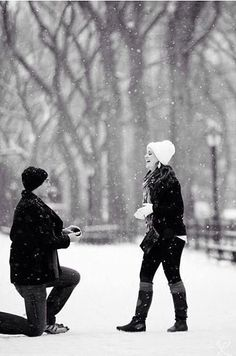 Magical winter proposal in the snow