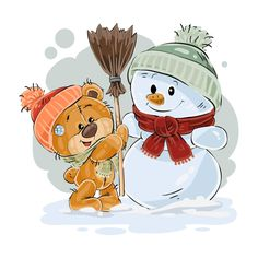 Buy Brown Teddy Bear Makes a Snowman by vectorpocket on GraphicRiver. Vector illustration of a brown teddy bear makes a snowman. Bear Cartoon, Cute Cartoon, Urso Bear, Bear Character, Make A Snowman, Brown Teddy Bear, Cute Clipart, Christmas Drawing, Tatty Teddy