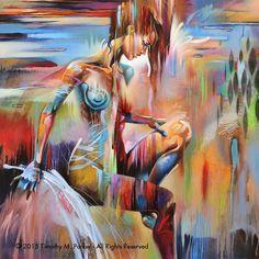 Figuras figura abstracta de • arte • figura moderna pintura reproducción • momento • contemporáneo desnudo fino arte impresión de COLOR Más
