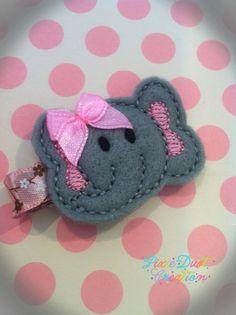 Baby Elephant Cutie Feltie Hair Clip by pixiedustcreation on Etsy, $2.25