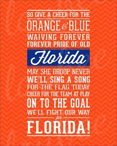 Florida Fight Song Print University of Florida by LoubeeDesigns