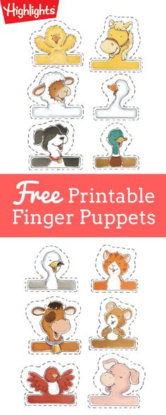 Cow goes moo, horses go neigh, doggies go woof, that's what animals say! Download this free printable, then cut out these adorable finger puppets for your child and have some fun making animal talk together!
