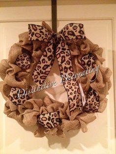 leopard cheetah burlap wreath