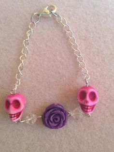 Day of the Dead Sugar Skull & Rose Bracelet by DreamsByAna on Etsy, $14.00