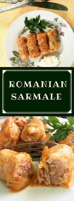 Romanian Sarmale or stuffed cabbage rolls with chicken and rice - the country's national dish. It is a most delicious dish made usually with cabbage or wine pickled leaves rolled in a filling of rice and minced meat, most commonly with pork, beef, turkey Pork Recipes, Chicken Recipes, Cooking Recipes, Healthy Recipes, Dinner Dishes, Dinner Recipes, Easy Stuffed Cabbage, Stuffed Cabbage Recipes, Ravioli