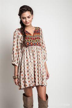 Indian Princess Tunic Dress-Taupe/Multi
