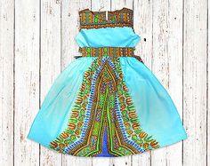 Girl's African Dashiki Print Dress with Belt