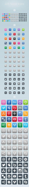 225 Free Social Icons