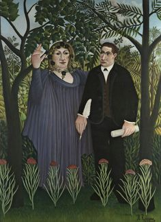 The Poet and His Muse (The Muse Inspiring the Poet). Portraits of poet Guillaume Apollinaire and painter Marie Laurencin is one of artworks by Henri Rousseau. Artwork analysis, large resolution images, user comments, interesting facts and much more. Henri Rousseau, Henri Matisse, Georges Seurat, Fondation Vuitton, Jungle Scene, Avant Garde Artists, Portraits, Portrait Paintings, Post Impressionism