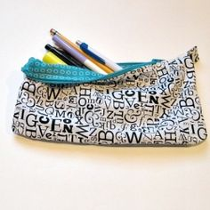 Every writer needs a pencil pouch.  Make your very own or one for someone special. I love alphabet fabric with the blue!